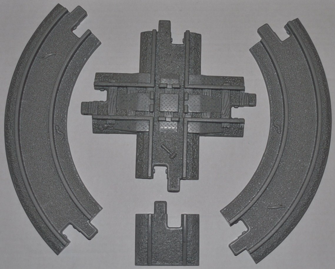 GeoTrax Cross Roads Intersection Track Segment, Track End Ramp Two-Inch, & Curve Track Curved Section (2) (All Gray Roadway Tracks Four Total)- Replacement Piece - Classic Fisher Price Geo Trax Collectible - Loose Out Of Package (OOP) Engine Cars Track Transportation Tracks