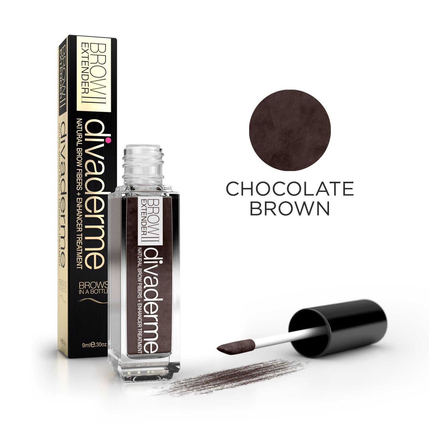 divaderme Brow Extender II, 100% Natural Semi Permanent, Eyebrow Fibers, Enhancer Treatment, Chocolate Brown