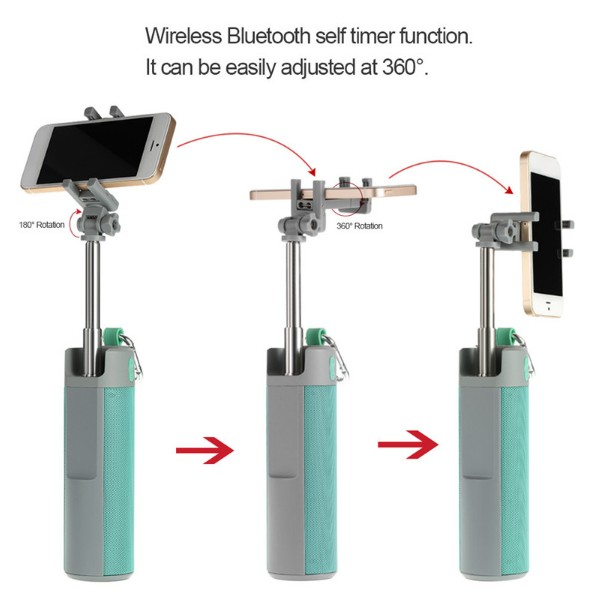 New Arrival 4 in 1 Wireless Selfie Stick BT Speaker With Phone Holder Emergency Power Bank And HooK