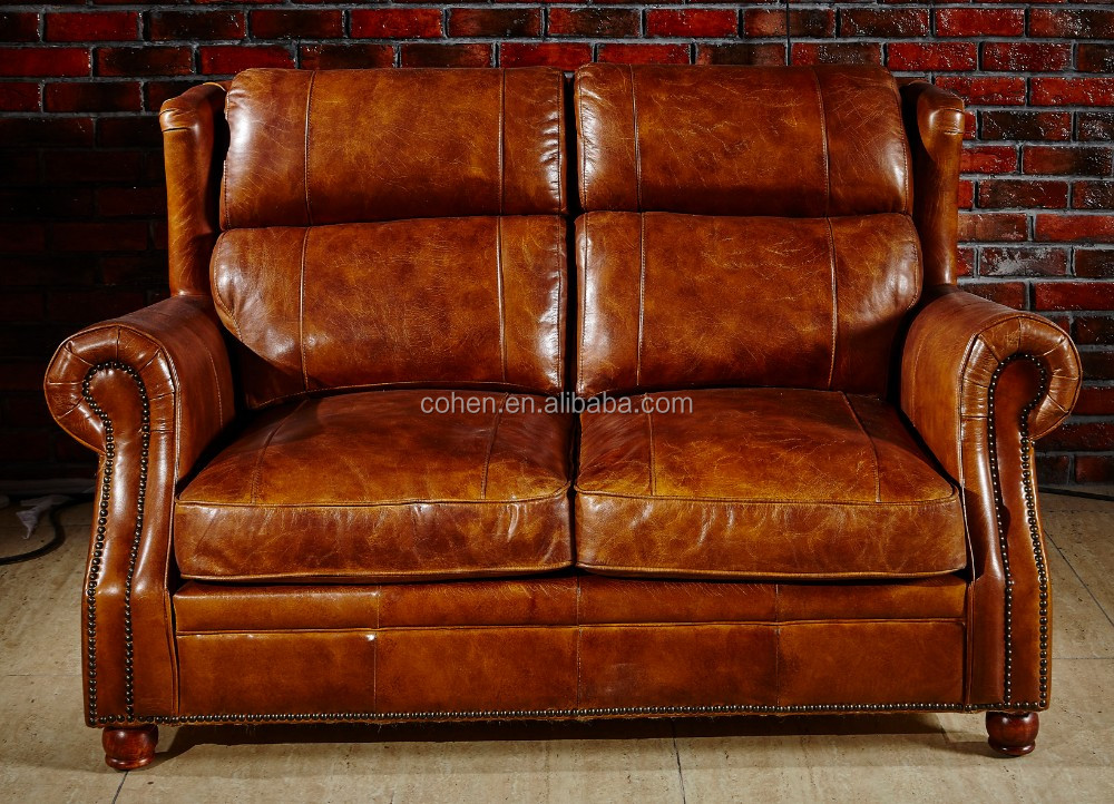 High End Vintage Leather Sofa S118