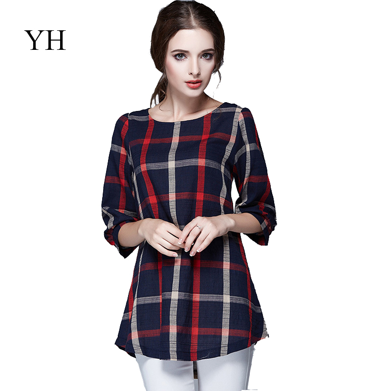 9d7a9fc984f Get Quotations · 5XL plus size women clothing blouses feminina 2015 womens  blouses and shirts half sleeve plaid shirt