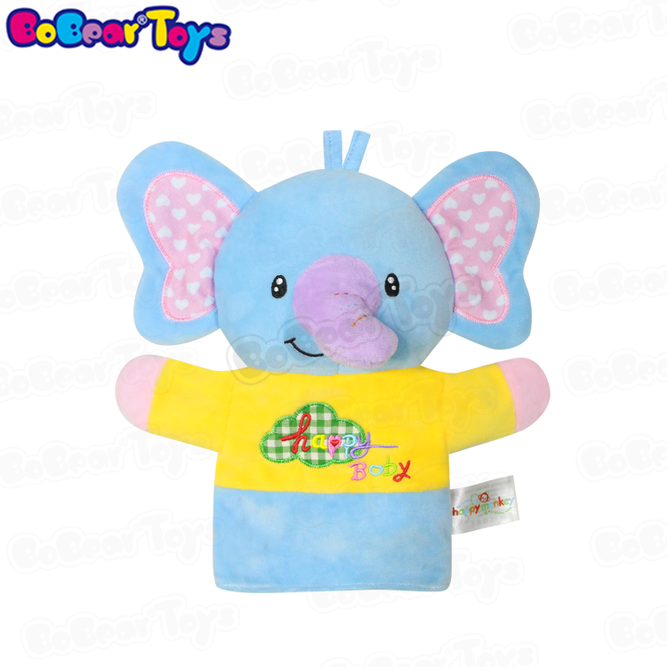 BobearToys high quality custom soft small stuffed elephant hand puppet cute kids plush toy stuffed <strong>animals</strong> for infants