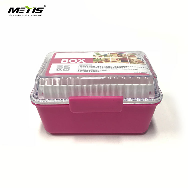 rectangle food container reusable lunch box with transparent plastic lids and spoon