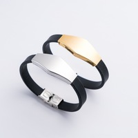 Fashion stainless steel adjustable Silicone bracelet for men jewelry 2018 wholesale N80901