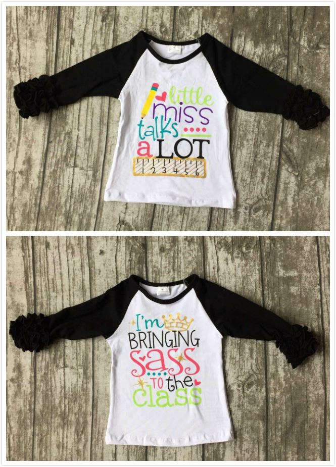 baby girls three quarter icing boutique raglans white black top shirts pencil Ruler crown children clothes back to school cotton