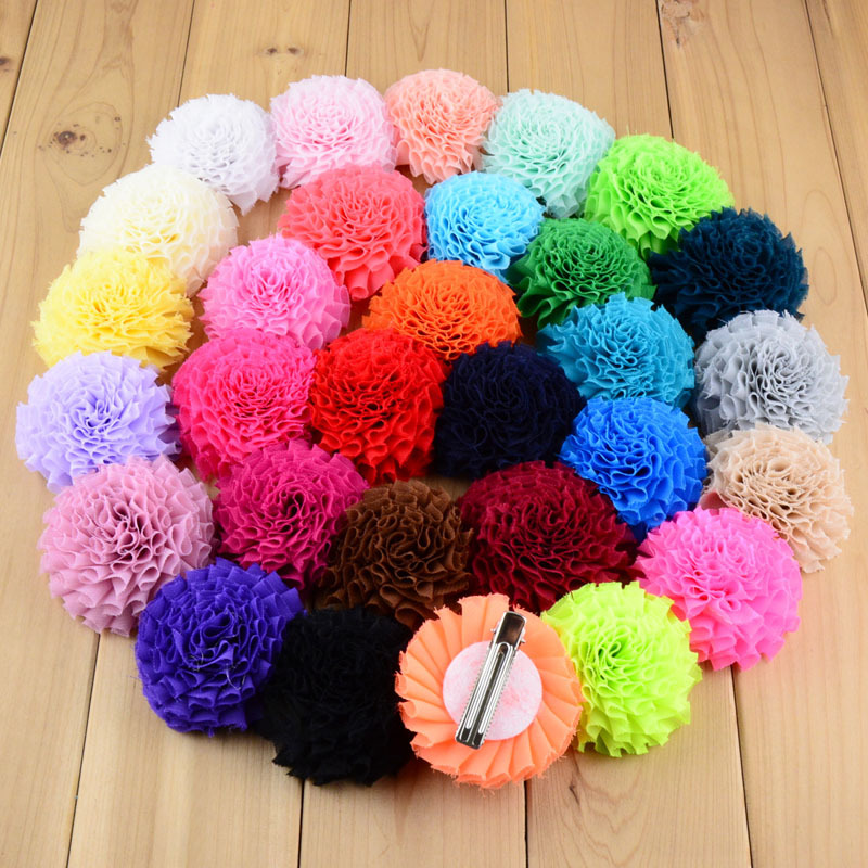 30 Colors Chiffon Fabric Flower Hair Clips Rolled Rose Hairpins Girls Hair Accessories A503