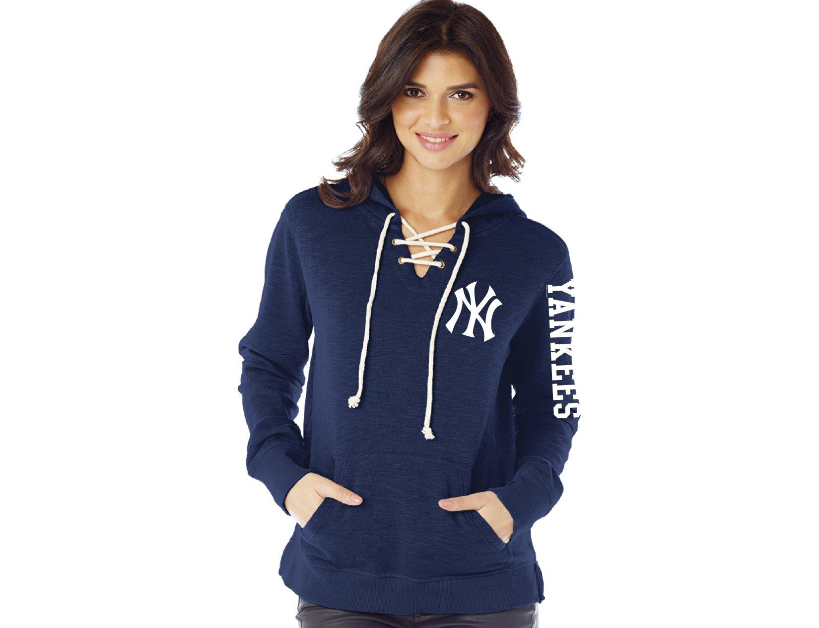 MLB New York Yankees Women's Slub Fleece Lace Hoodie, X-Large, Navy