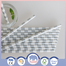 Biodegradable Paper Drinking Straws (Premium Quality), Pack of 25, Striped - Silver