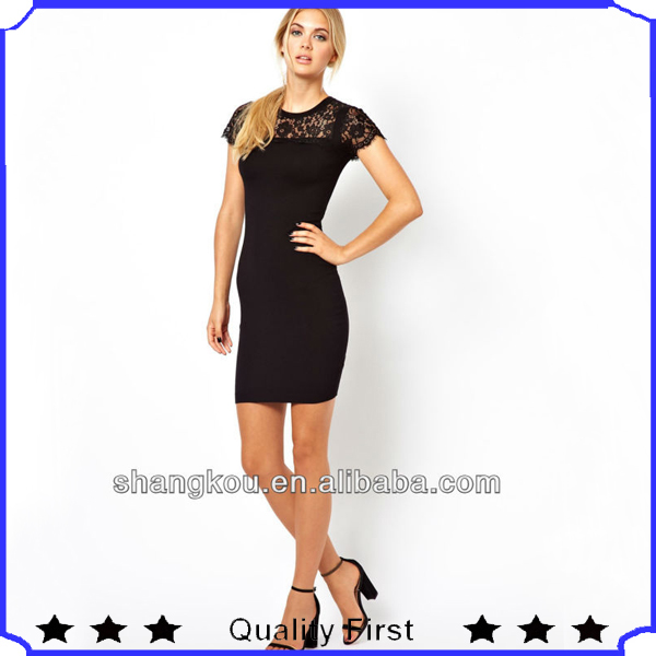 OEM service fashion designer women Knitted Dress with Lace Yoke and Sleeves shkz l80