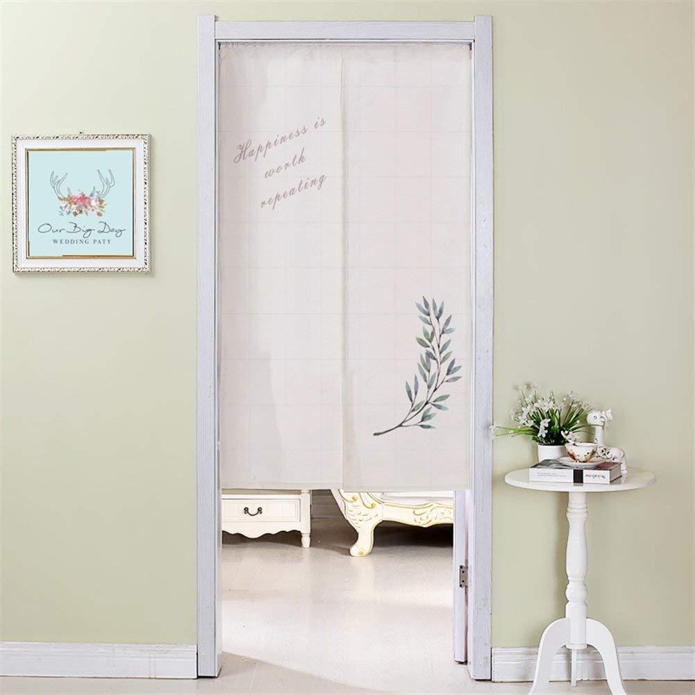 "Insun Modern Linen Doorway Curtain Noren Divider Doorway Curtain Rod Included for Bedroom Leaves 35.4"" W x 47.2"" L"