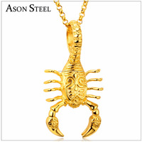 Gold Scorpion Pendants Necklaces Stainless Steel Insect Pendant Necklace Men Birthday Gift Jewelry