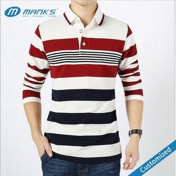 Men Polo Collar Striped T Shirt,Men Long Sleeve Polo Shirt,Custom ...