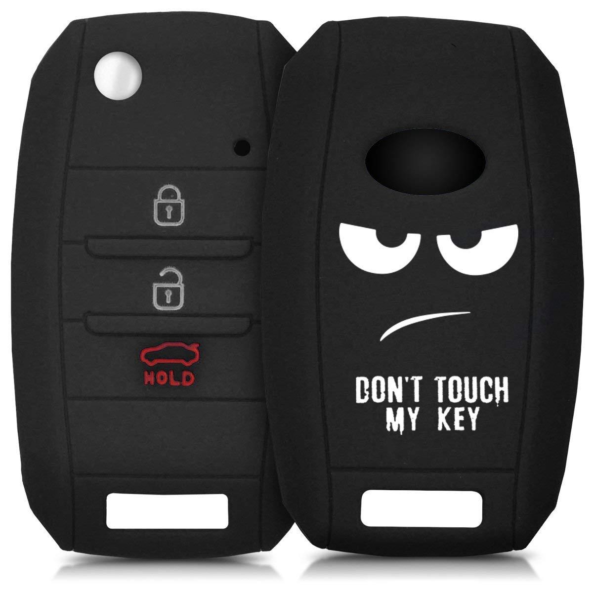 kwmobile Kia Car Key Cover - Silicone Protective Key Fob Cover for Kia 3-4 Button Car Key - white black
