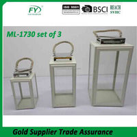 Home and garden use classical hot selling hemp rope handle metal lantern