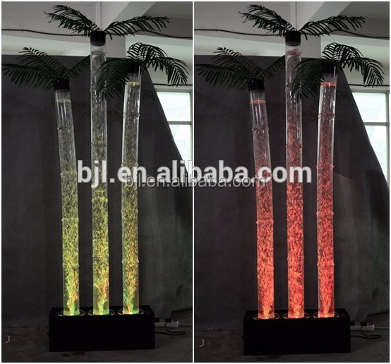 glowing led RGB water bubble artificial coconut trees indoor water feature
