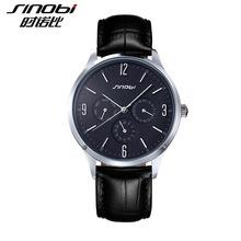 93e233f77725 SINOBI Relojes HOMBRE Ultra Slim Топ люксовый бренд кварцевые часы Для мужчин  Повседневное Бизнес кожа аналоговые