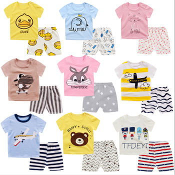 Wholesale factory price Summer baby clothes set 100% cotton short sleeve 2pcs children clothes set
