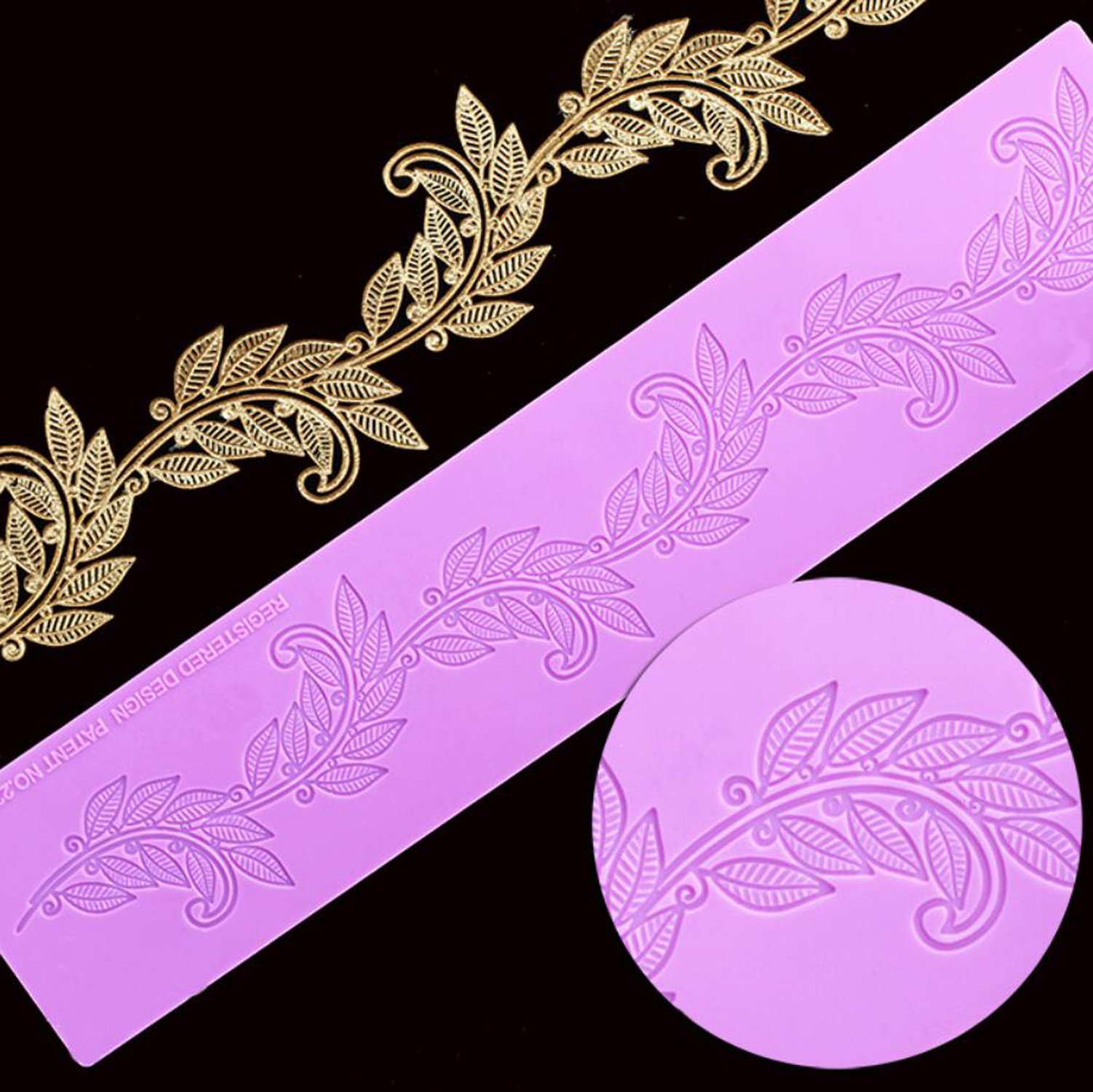 Silicone Lace, KOOTIPS Novelty Giant Lace Silicone Mold Sugarcraft Wedding Cake Decor Tools Impression Gum Pastry Tool Kitchen Tool Sugar Paste Baking Mould Cookie Pastry (leaf silicone lace)