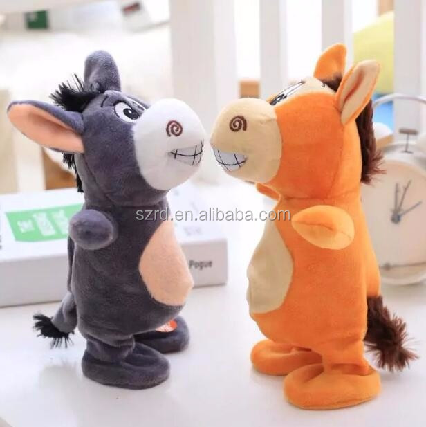 Custom new ideas talk walk small donkey electric doll/stuffed sound plush toy/cute talking animal plush toy
