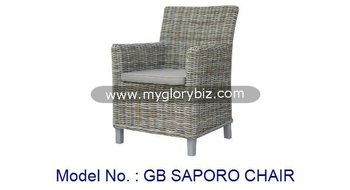Garden Armchair Furniture For Outdoor Modern Rattan Chair With Cushion Cushioned Arm Poly