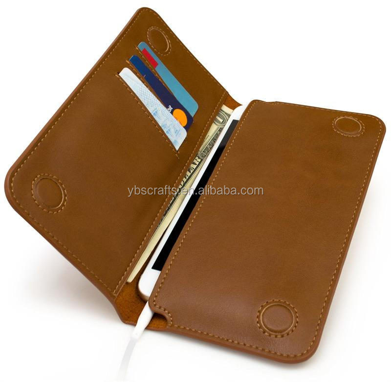 Leather Wallet with 3 Card Carrying Slots with 2 Pockets for Mobile Phone