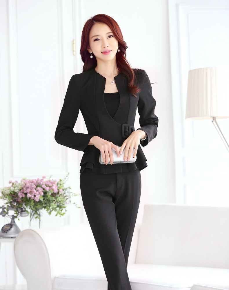 Get Quotations · New 2015 Autumn Black Blazer Women Business Suits Formal Office  Suits Work Ladies Pant And Jacket