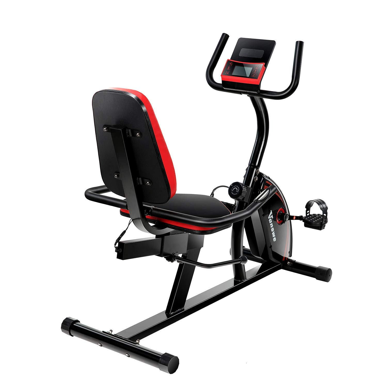 bdf800cfaa4 Get Quotations · Magnetic Tension Recumbent Bike Adjustable Resistance  Transport Wheels Exercise Bike Fitness Stationary Bicycle (Red
