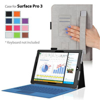 Built in hand strap pu leather flip stand case for microsoft surface pro 3