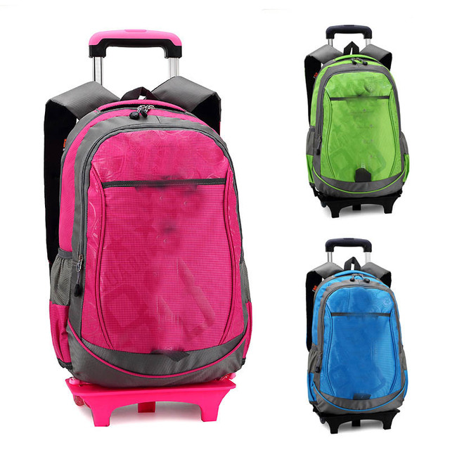 Rolling Backpack Men Middle School Trolley Laptop Bags Wheels Cute Book For Teenagers