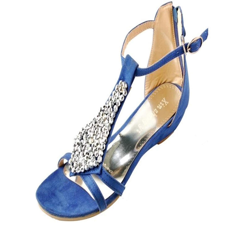 9993a5cbb Get Quotations · T-JULY Womens Ladies Fashion Bohemia String Beaded Back  Zipper Slide Flat Sandals Comfy Slip