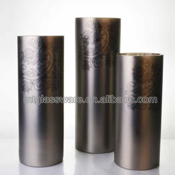 3 sizes of cheap tall lacquer gray decal decoration glass vases wholesale