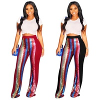 B31591A 2019 Latest hot selling women sexy sequin design bandage feet pants