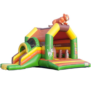 Small size inflatable Tiger jumping bouncer inflatable combo with slide for toddlers