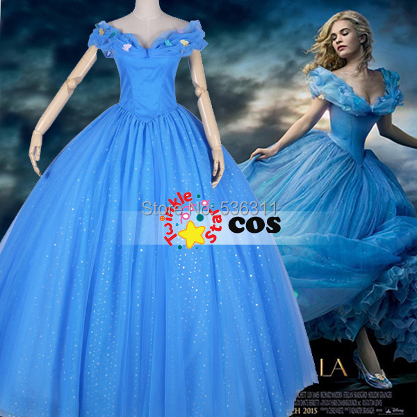 Princess Cinderella Wedding Dress Costume For: Aliexpress.com : Buy New Cinderella 2015 Prom Dress Movie