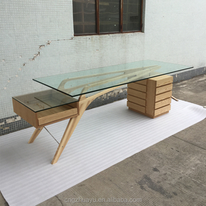Modern glass table wooden frame Writing Desk Office Desk Cavour Desk