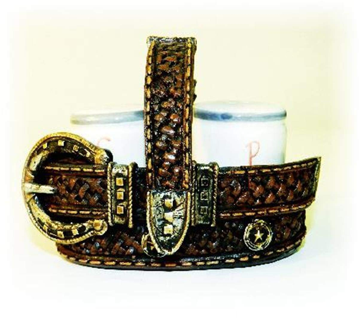 3.5 Inch Brown/Gold Intricate Woven Detailed Belt Salt and Pepper Pot