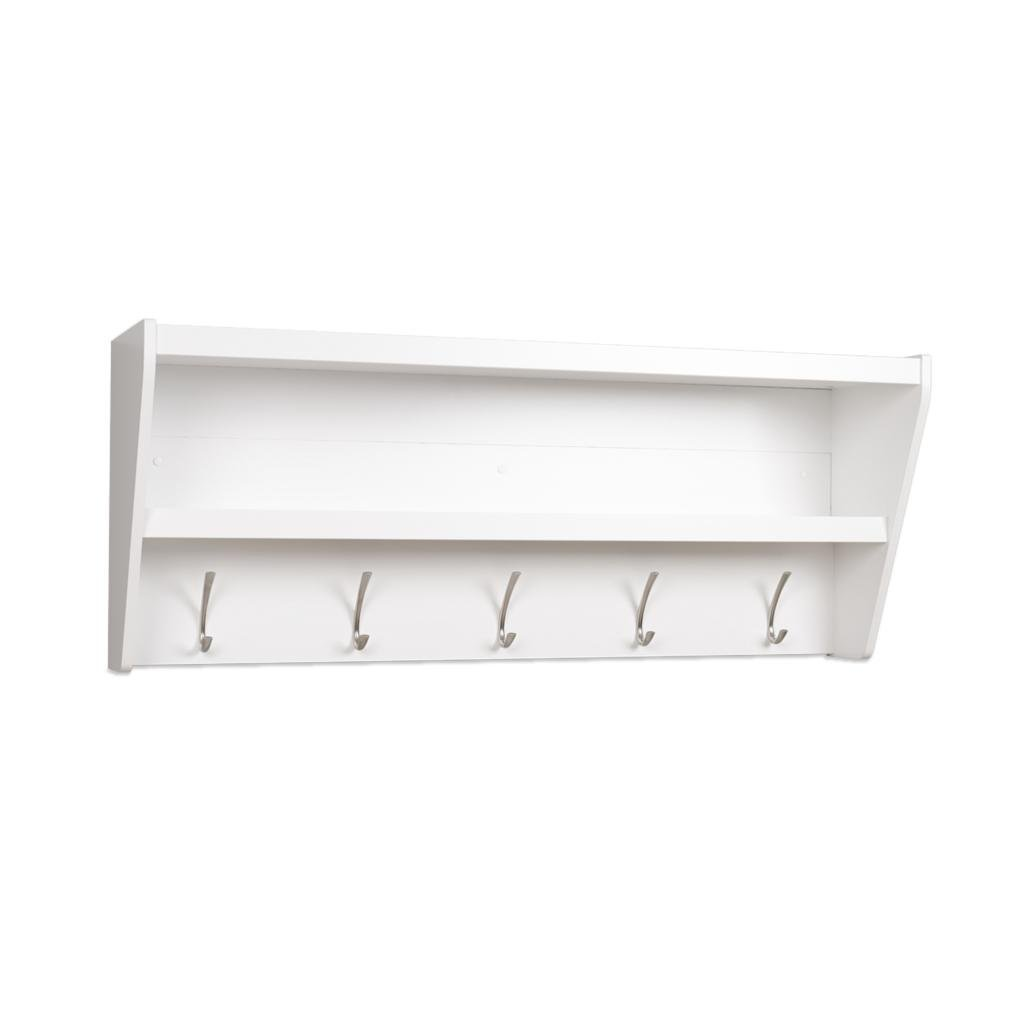 Prepac Floating Entryway Shelf & Coat Rack in White