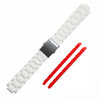 2 Pices White Rubber Watch Strap With Deployment Clasp