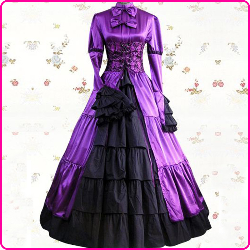 Get Quotations · 2015 Elegant Purple and Black Floral Lace Medieval  Renaissance Gothic Victorian Ball Gowns 17th 18th Civil b470594131de