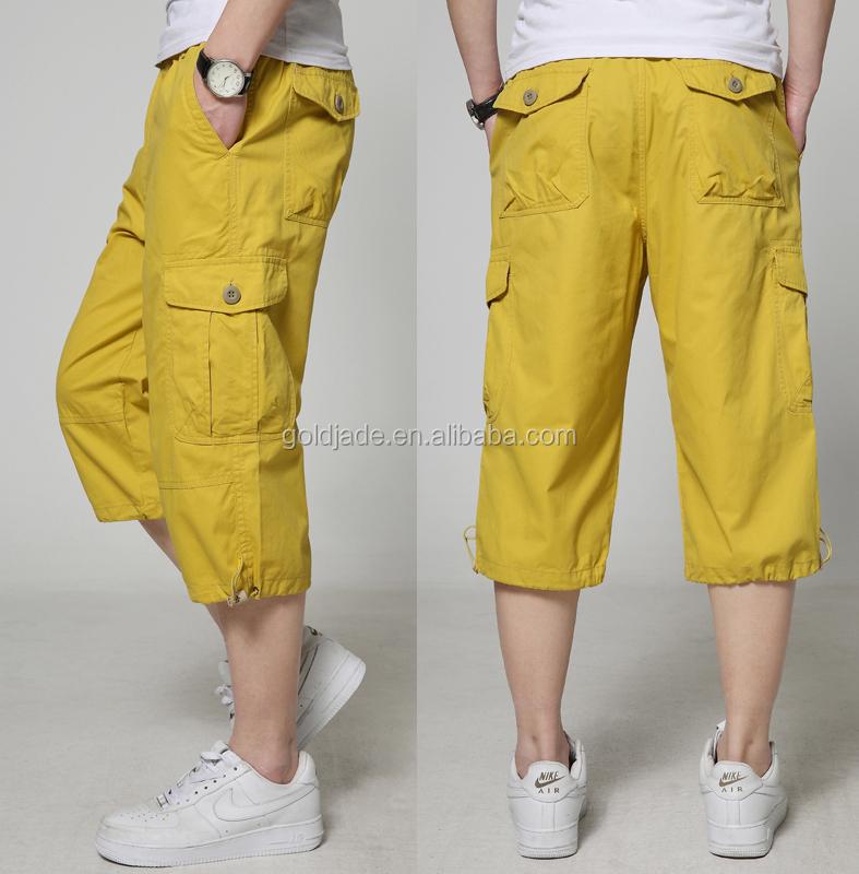 Yellow Cargo 3/4 Pants,Black Mens 3/4 Cargo Shorts,100% Polyester ...