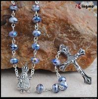 Kingme Craft 6*8mm charm crystal beads cross rosary jewelry