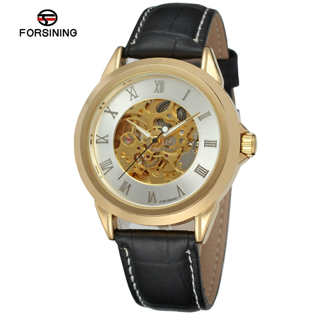 2017 Forsining Clock Gold Skeleton Automatic Mechanical Leather Watch, brand your own watches