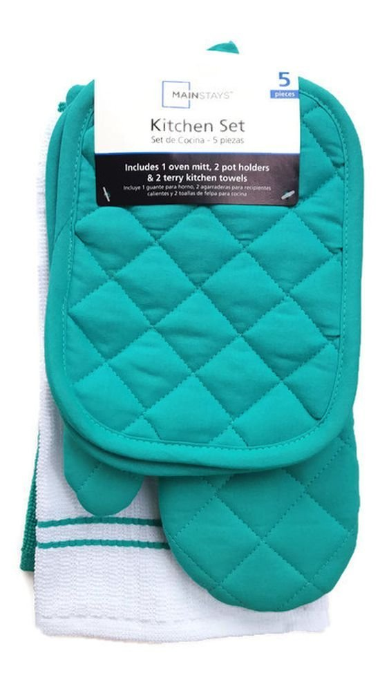Teal Island Kitchen Towel Set 5 Piece- Pot Holders, Oven Mitt, and Terry Kitchen Towels