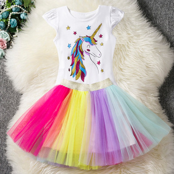Unicorn children's skirt Christmas cosplay dress stage performance princess dress