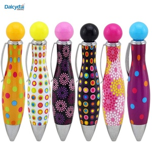 Jiulyning retractable twist bowling style cute mini fat ballpoint pens 0.7 mm blue ink colorful pen shell by Jiulyning