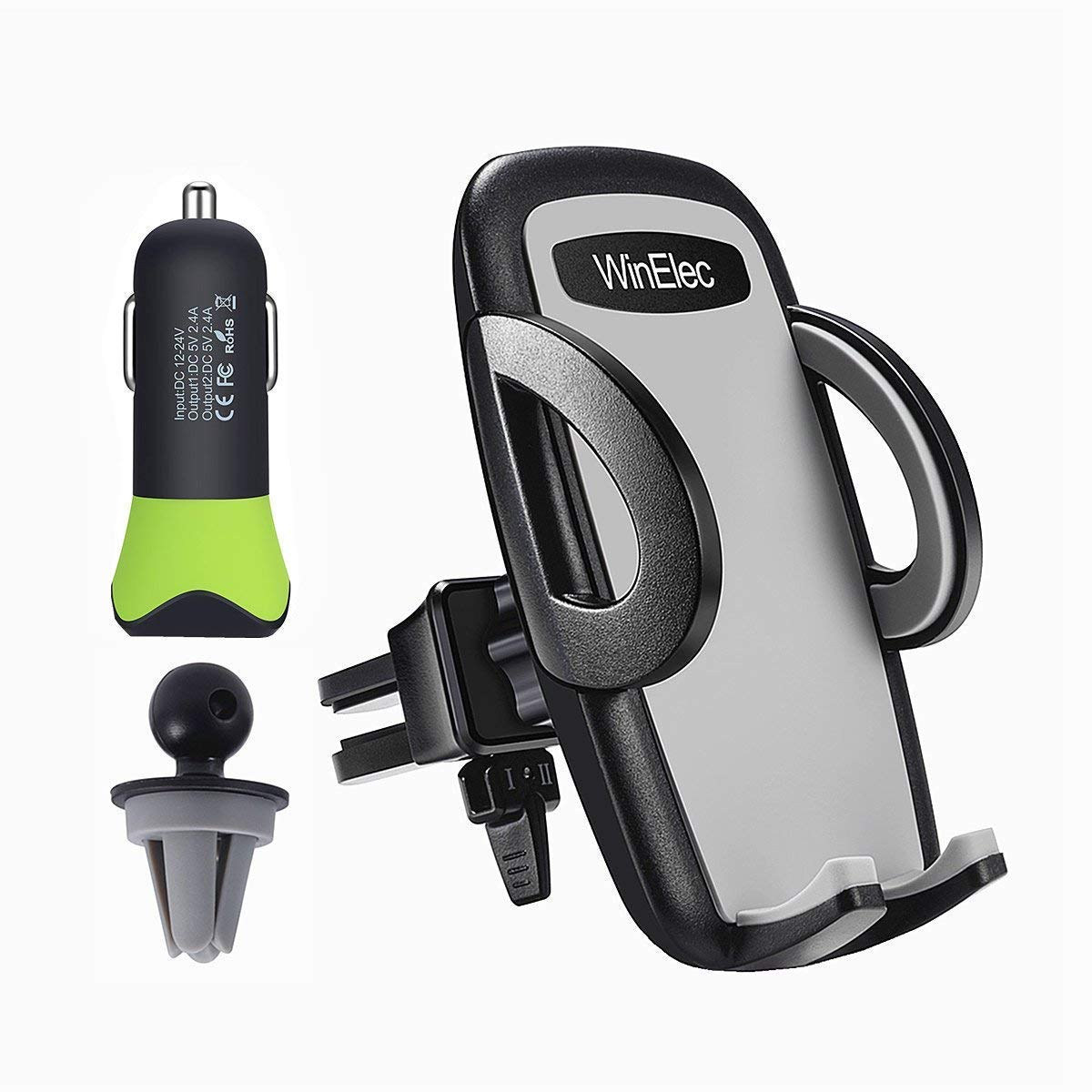 Car Phone Mount, 24W 4.8A Car Charger and Universal Smartphone Car Vent Phone Holder Compatible with iPhone X 8 7 6 Plus 6s Samsung Galaxy S8 S7 S6 S5 S4 LG Pixel Nexus and More Cell Phone WinElec