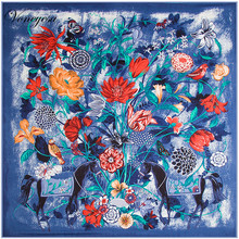 New Spring Silk Scarf Women Scarves Fashion Printed Floral Silk Scarves 130X130cm Square Bandana Summer Printed Hijab