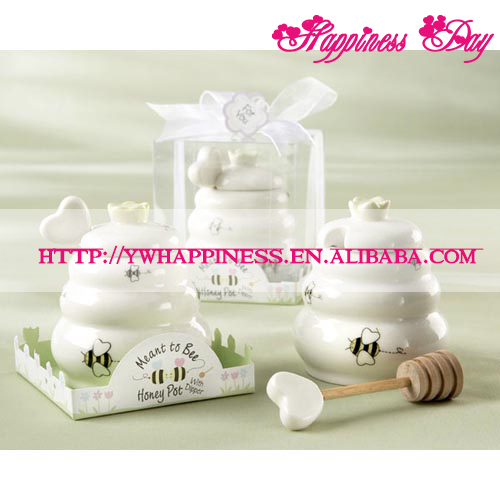 """Meant to Bee"" Ceramic Honey Pot with Wooden Dipper Wedding Baby Favors and Gifts"