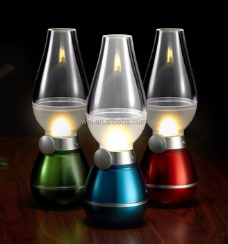 Oil Lamp Rechargeable Blowing Control LED Night Light Vintage Style LED 0.3 wattas Kerosene Lamp