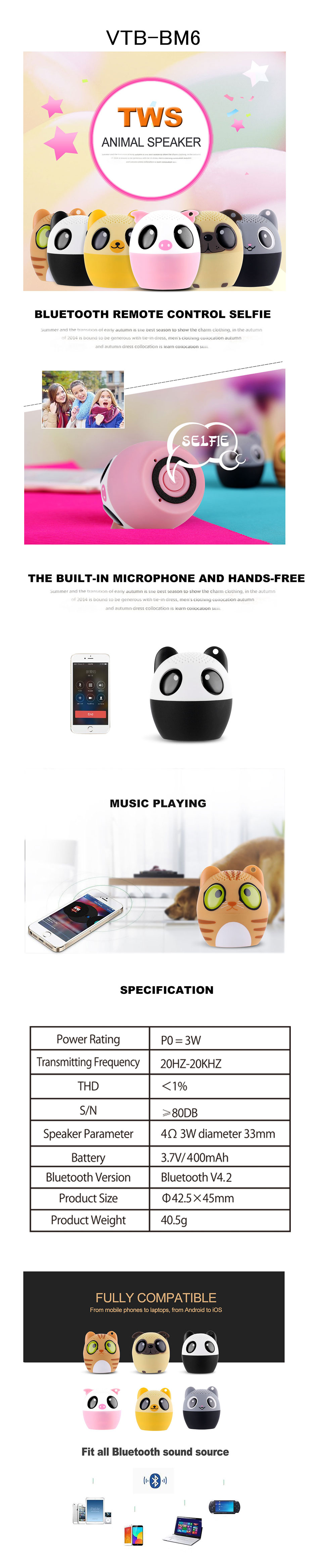Hot Selling Outdoor Audio Pet Mini Portable wireless cartoon for smart mobile phone animal speaker pet